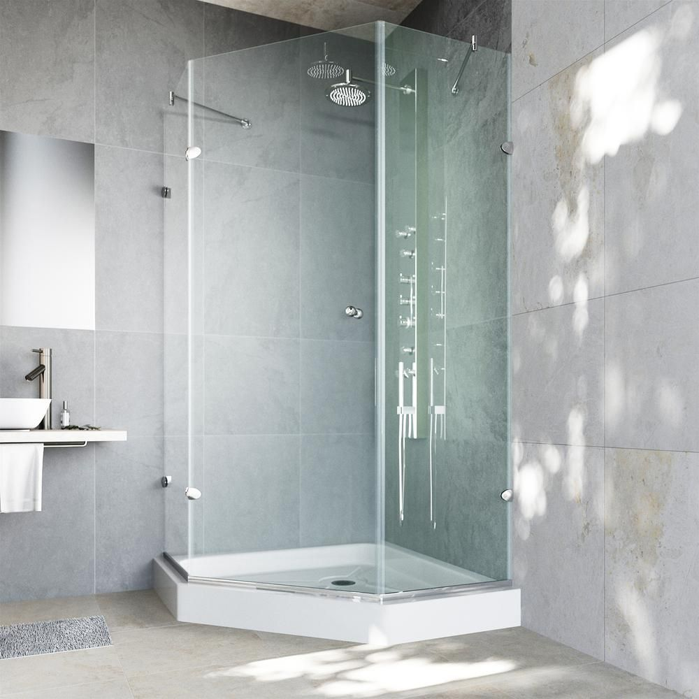 Vigo Verona 36 125 In X 78 75 In Frameless Neo Angle Shower