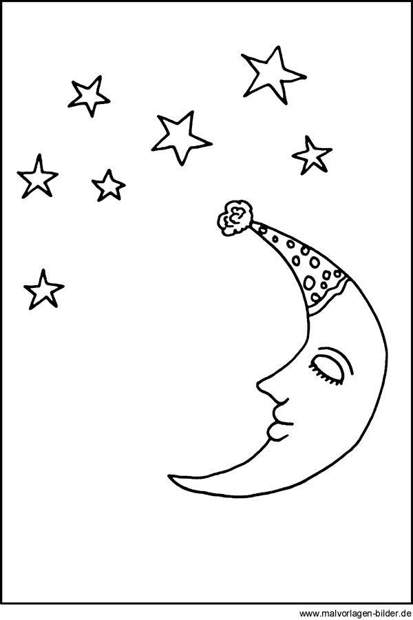 Malvorlagen Und Ausmalbilder Mond Und Sterne Mond Und Sterne Sterne Malvorlagen