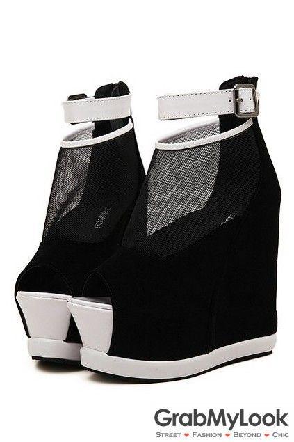 90f51d569fe9 GrabMyLook Black Suede Open Toe Studs Ankle Mesh Punk Rock Hidden Wedge  Gothic Platform Boot Shoes