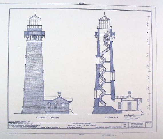 Pigeon Point Lighthouse Blueprint by BlueprintPlace on Etsy, $18.99