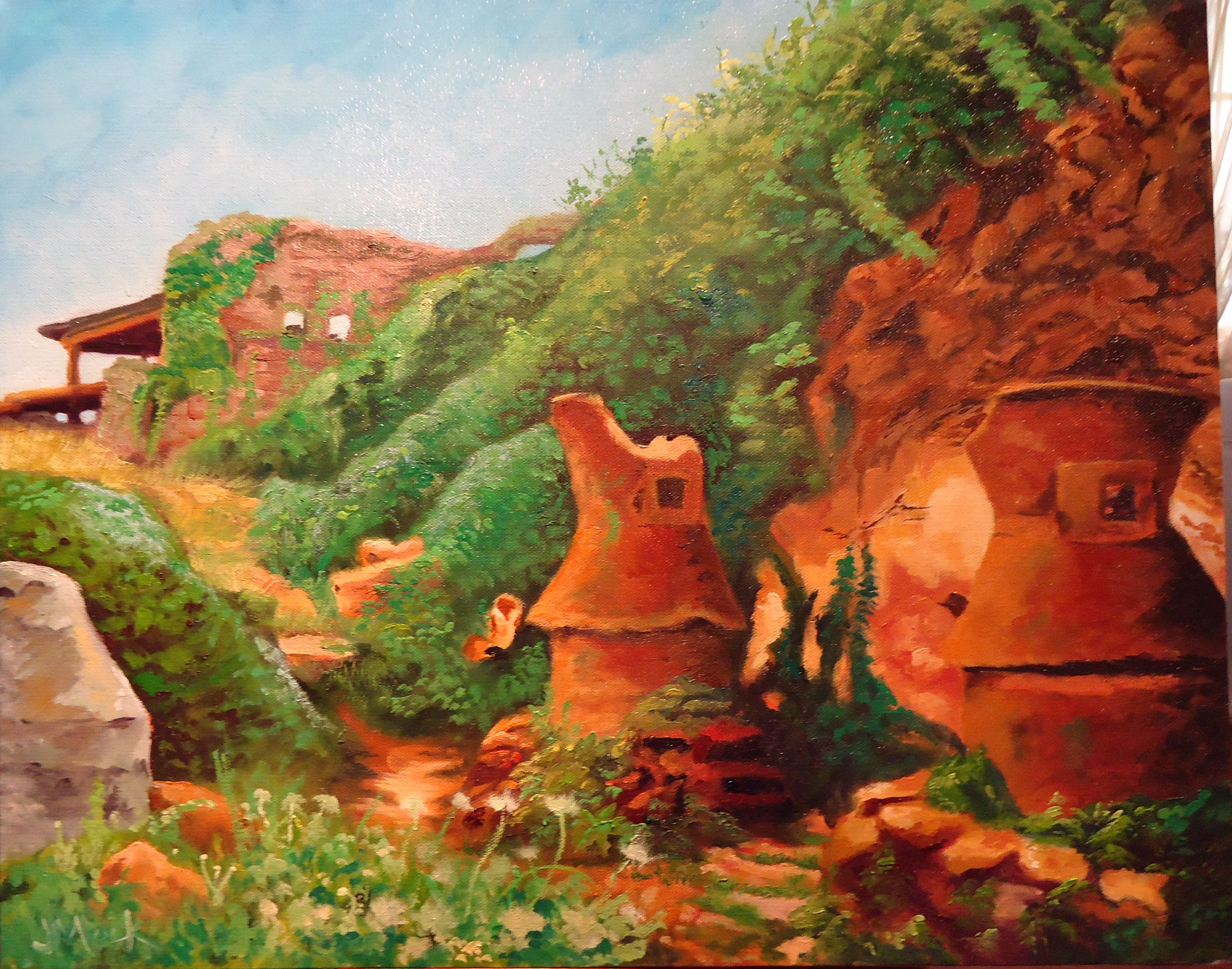 Pompeii Ovens. Oil painting on 16x20 canvas from a photograph I took several years ago while visiting the ruins.