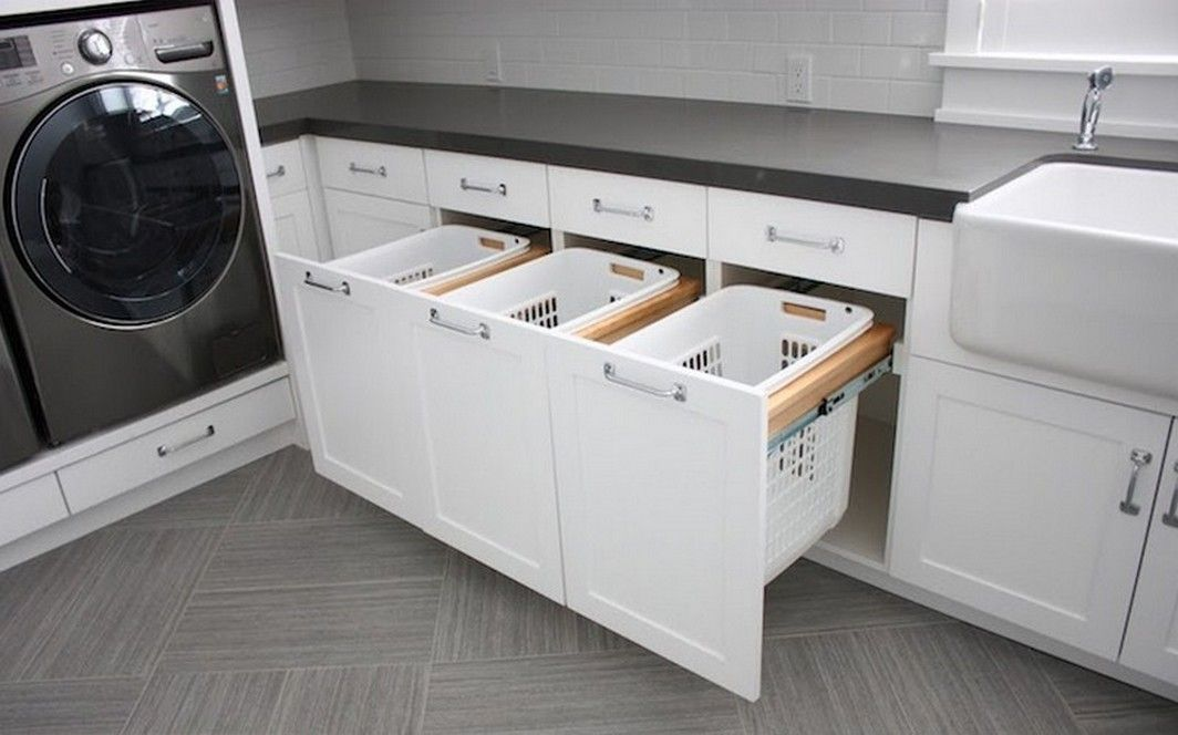 Bathroom Laundry Cabinet With Built In Hamper Uploaded By Rack Design