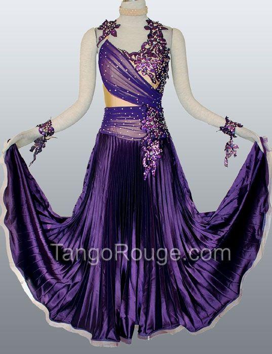 406f412bc6834 ballroom dance dresses | Purple Indigo Satin Ballroom Waltz Smooth Dance  Dress - TangoRouge .