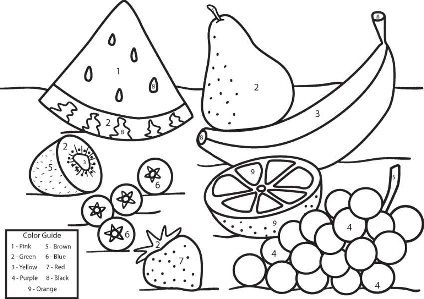 Fruit Coloring By Numbers Pictures For Kids Girls Boys Childr Preschool Worksheets Free Printables Printables Free Kids Kindergarten Worksheets Free Printables