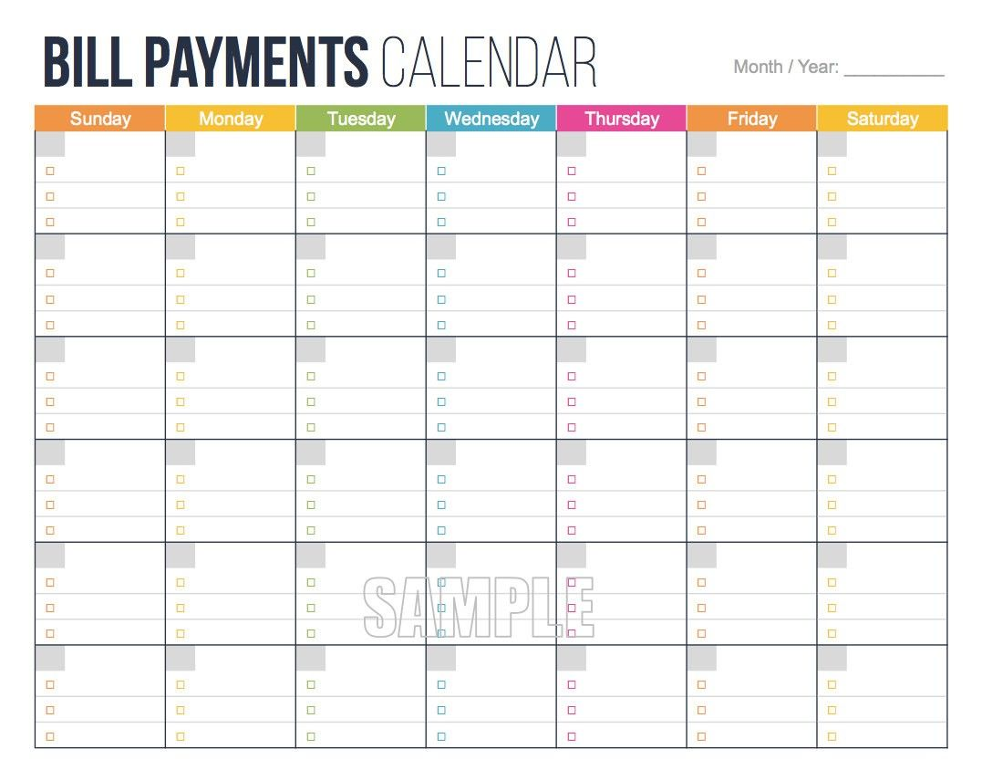 Awesome Free Printable Bill Payment Calendar
