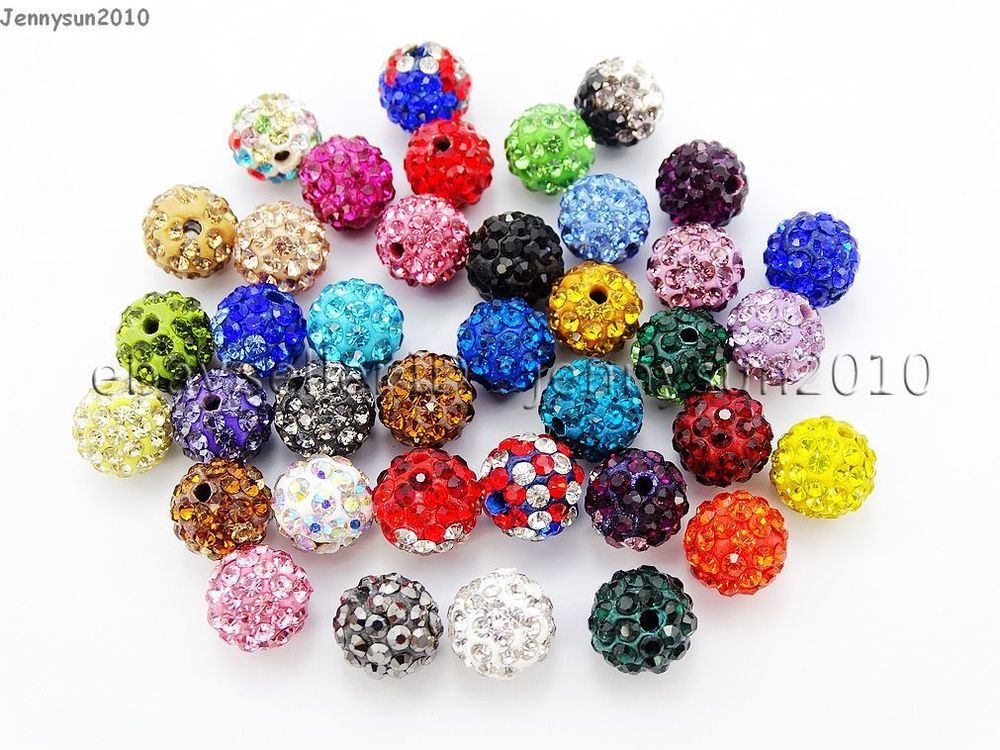 20pcs 8mm 10mm Small Crystal Rhinestones Pave Clay Round Loose Ball Spacer Beads