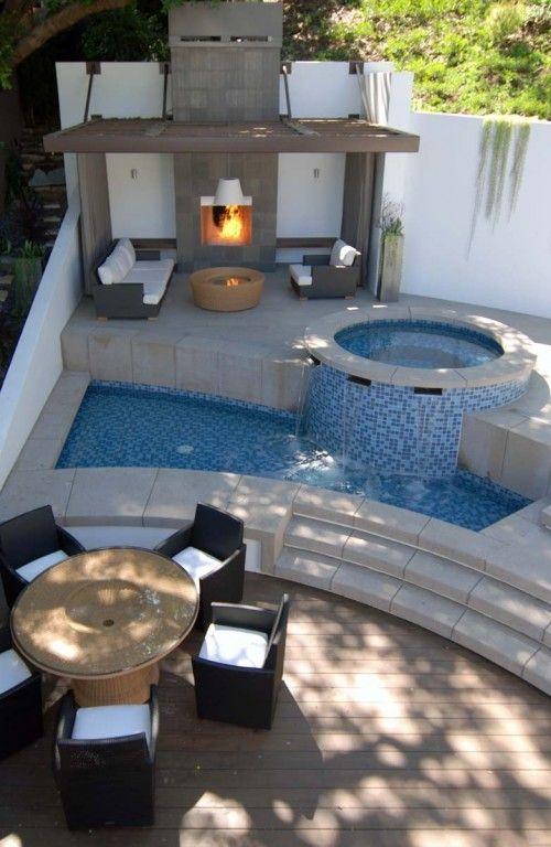 Pool und Feuerstelle für unsere Gartenecke gorgeous greens - eine feuerstelle am pool