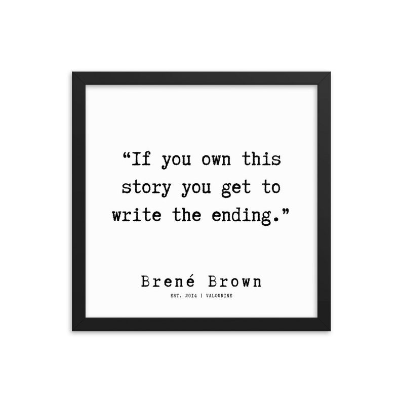 54  | Framed Poster | Brene Brown Quotes  | 191219 Typewriter #philosophicalquotes