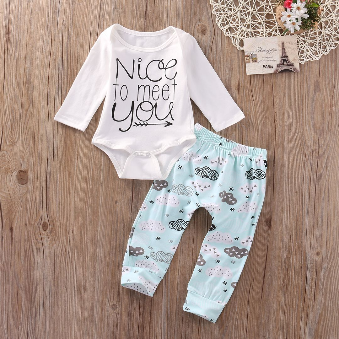 9b7f72e3f355 Click to Buy    Newborn Baby Boys Girl Clothes Romper Pants Leggings ...