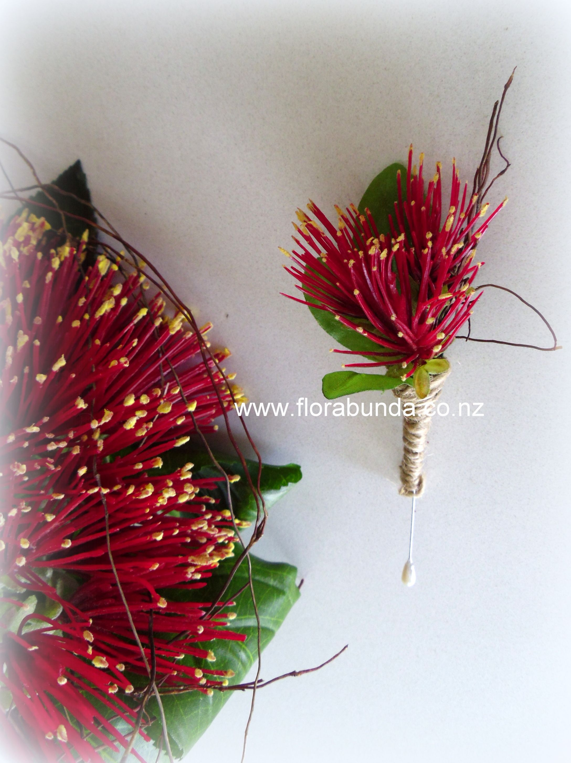 Pohutukawa Flower In Artificial For The Buttonhole And Wedding