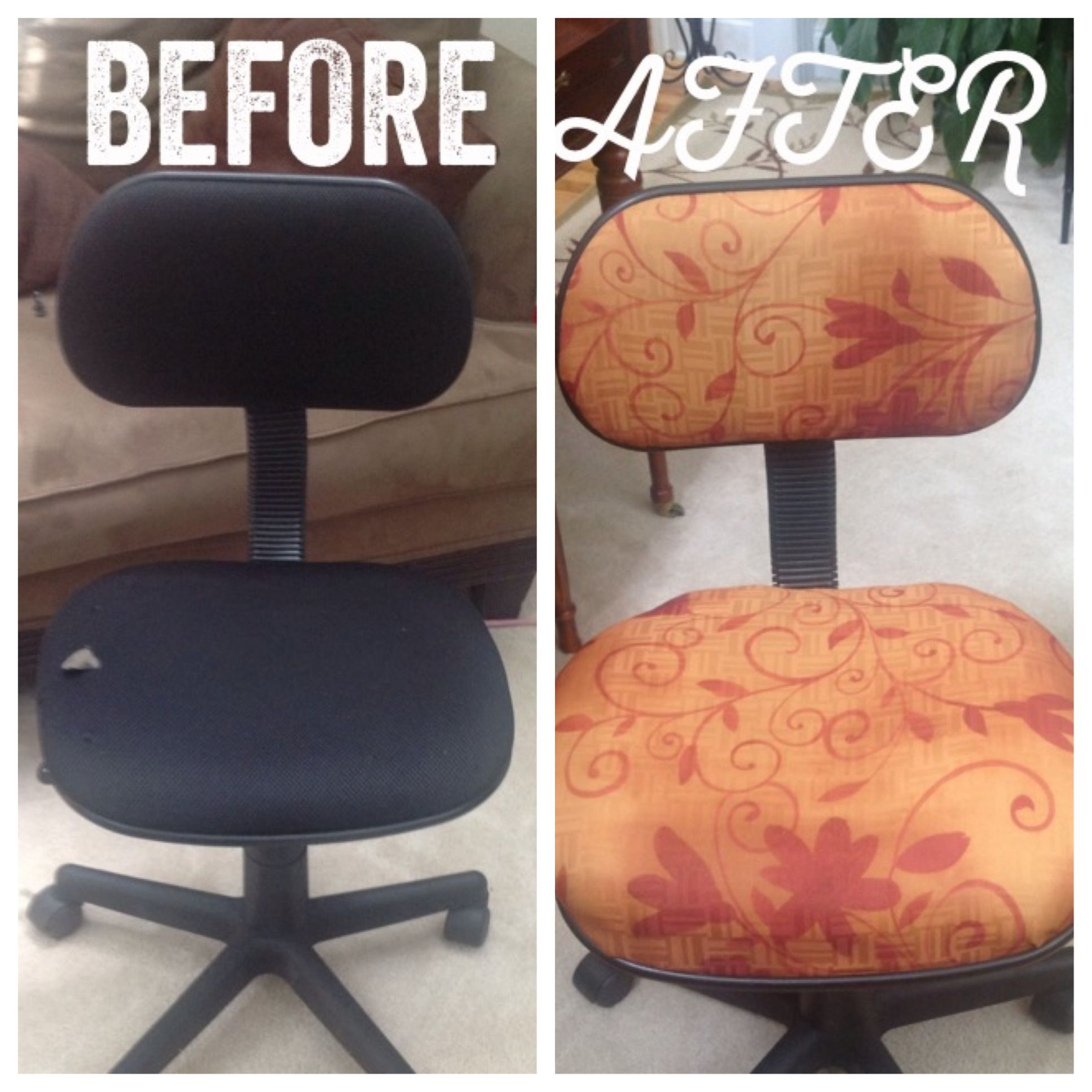 DIY Office Chair Upgrade!! Fabric, Staple Gun, And Screwdriver Are All You