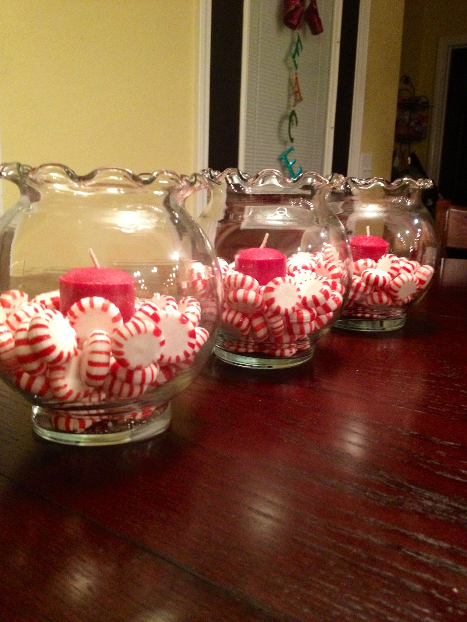 Peppermints in small quot fish bowls with candles super cute