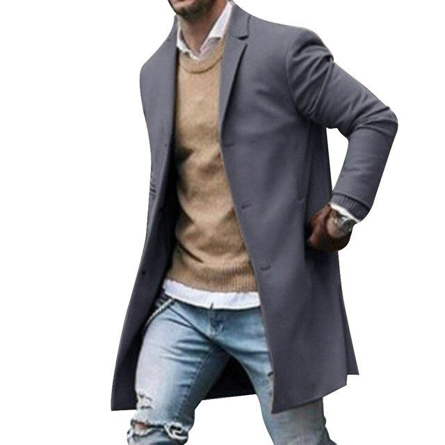 Oeak Trench Coat Men's Jacket Winter Warm Wool Coat Outwear Long Overcoat Classical Men Coats Winter Size S Color Black