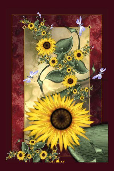 August Sunflowers by Velvet--Glove (print image)