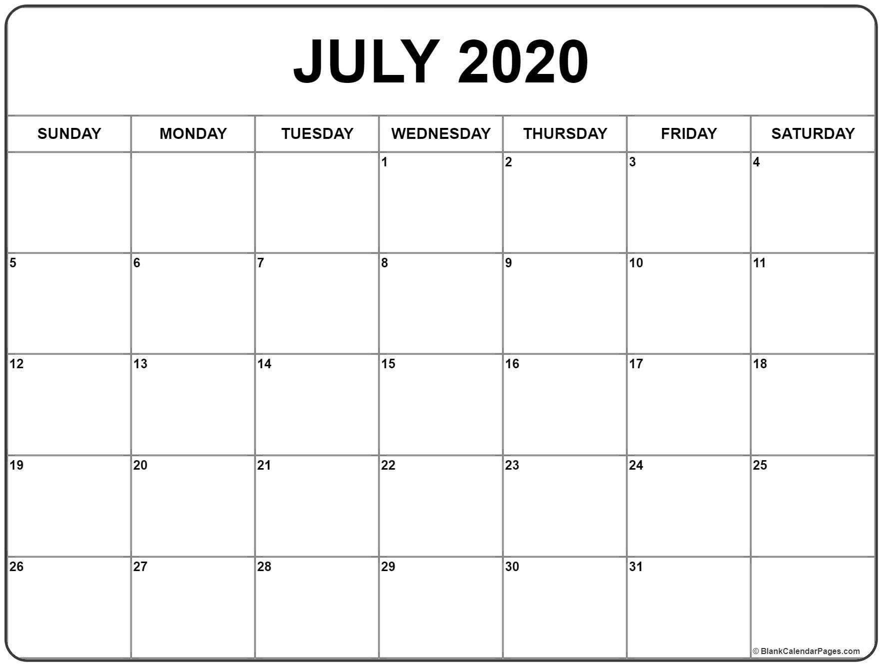 July 2020 Calendar Printable.July 2020 Calendar Printable Blank Calendar January
