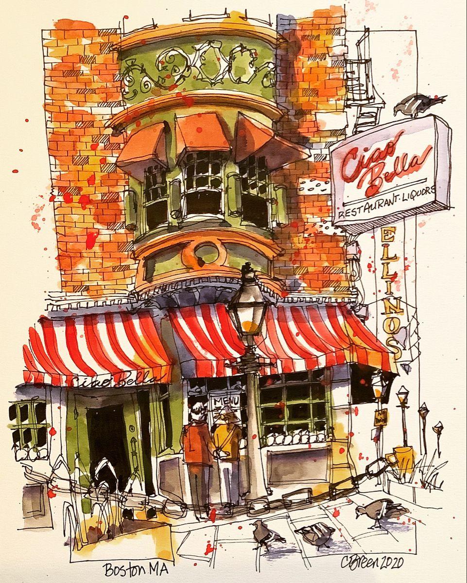 Ciao Bella North Boston C Breen 2020 In 2020 Urban Sketching Sketch Book Urban Sketchers