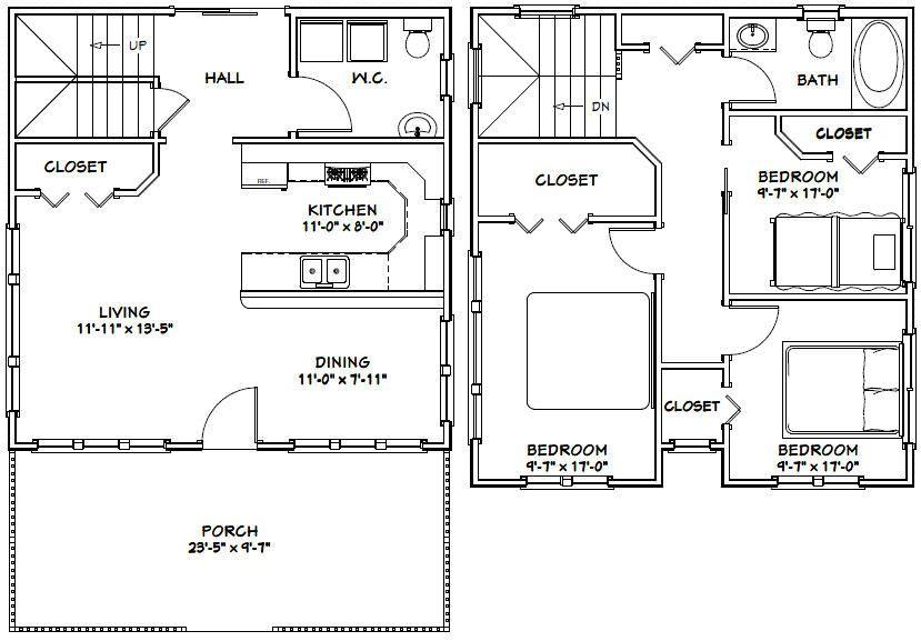 24x24 House 24x24h5f 1 106 Sq Ft Excellent Floor Plans Bedroom House Plans House Plans Modern House Plans