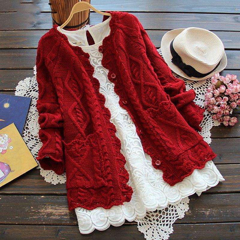 Ohryiyie 2017 Демисезонный Mori Girl Стиль Для женщин кардиган сплошной Цвет свитер вязаный хлопок короткая куртка модная одежда для девочек пальто купить на AliExpress