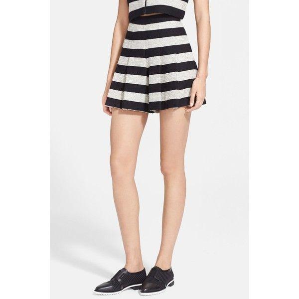 alice + olivia Stripe Tweed Skirt ($110) ❤ liked on Polyvore featuring skirts, striped flare skirt, high rise skirts, high waisted flare skirt, tweed skirt and knee length pleated skirt