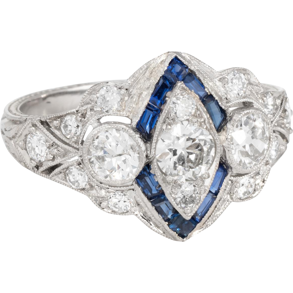 8a368b224 Vintage Art Deco Diamond Sapphire 900 Platinum Embossed Cocktail Ring  Estate Jewelry #ArtDeco #artdecoring #vintagejewelry #antiquejewelry  #engagementring # ...