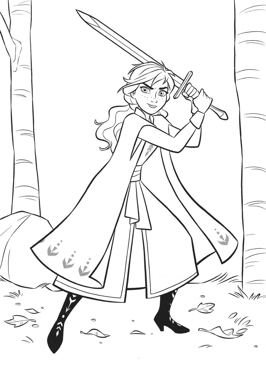 New Frozen 2 coloring pages with Anna in 2020 Omalovánky