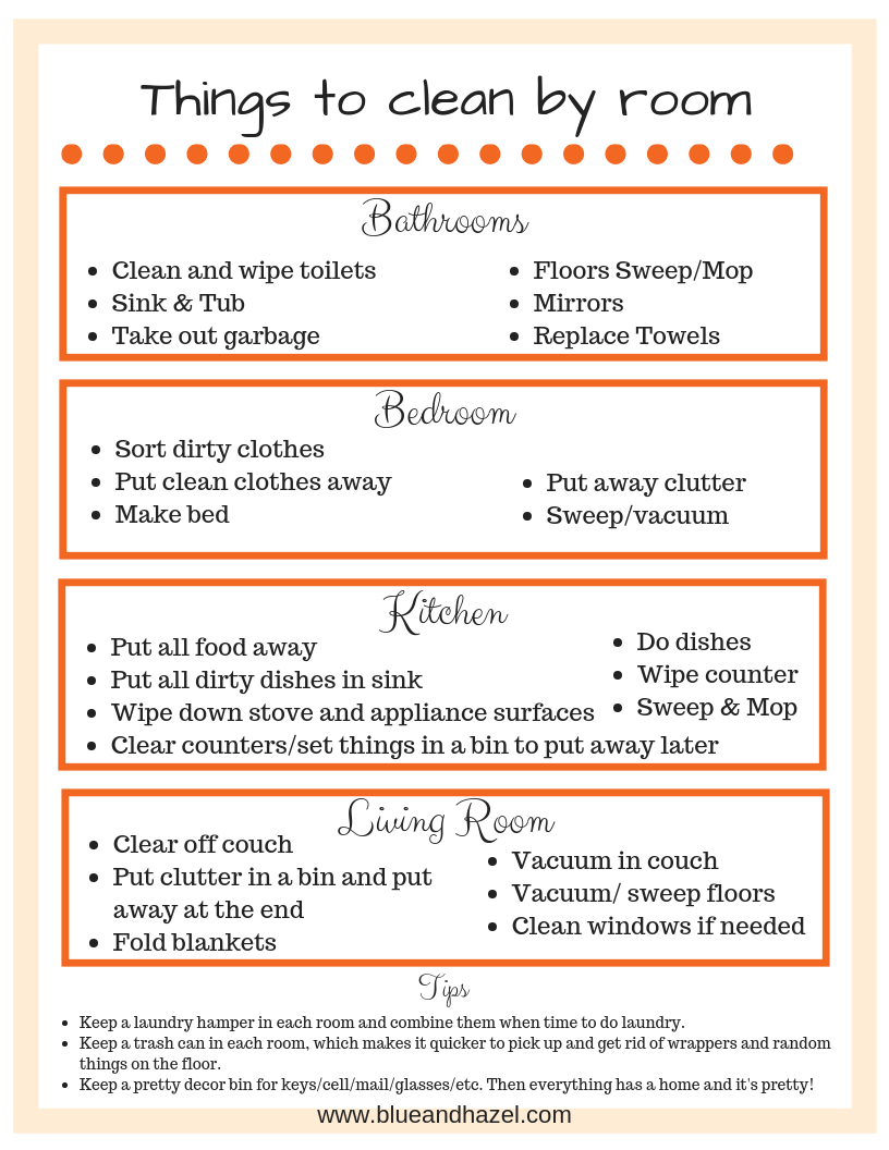 House cleaning schedule for the overwhelmed mom + printable images