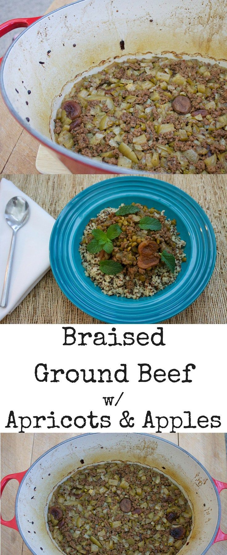 Super Easy Ground Beef Recipe In The Dutch Oven Sweet And Savory Thanks To The Spices And Apricots It S So Simp Braised Ground Beef Recipes Easy Beef Recipes