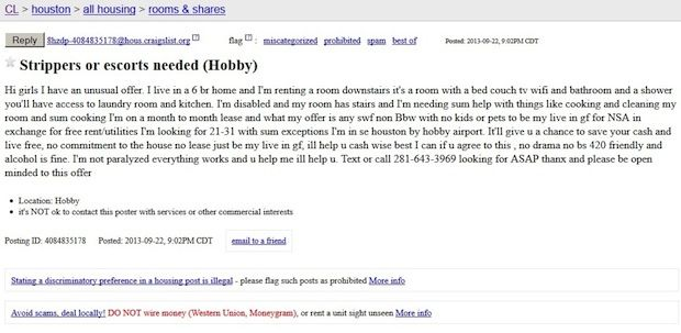 Awesome Roommate Wanted Unbelievable Roommate Ads From Craigslist Roommate Wanted Ads Roommate