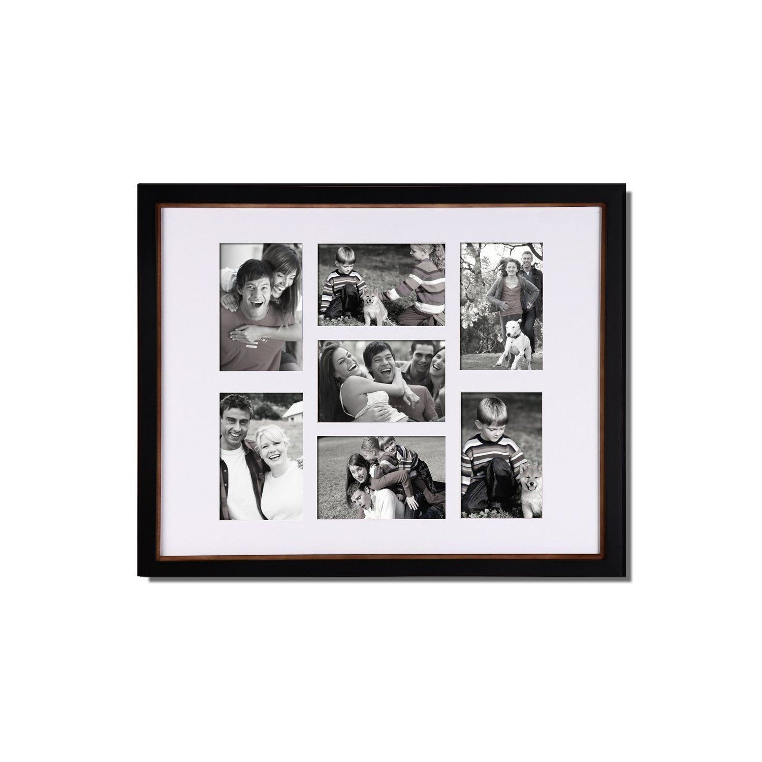 Adeco 7-opening Black Wood Collage Picture Photo Frame (Adeco 7 ...