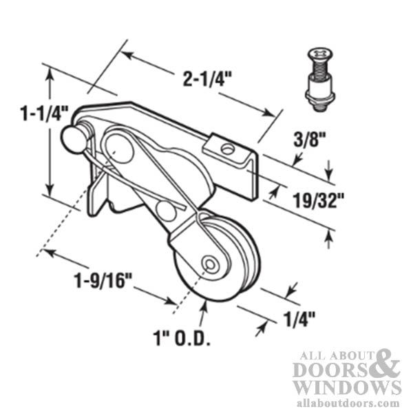 Spring Loaded Roller Assembly with 1 Inch Steel Wheel for
