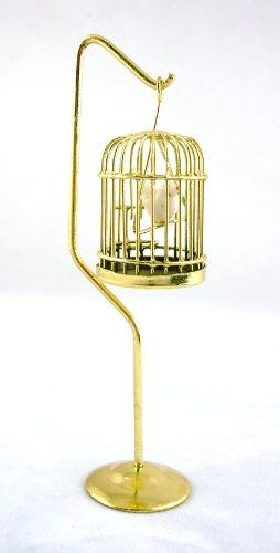 Miniature Dollhouse FAIRY GARDEN Furniture ~ Brass Bird Cage with Stand /& Bird