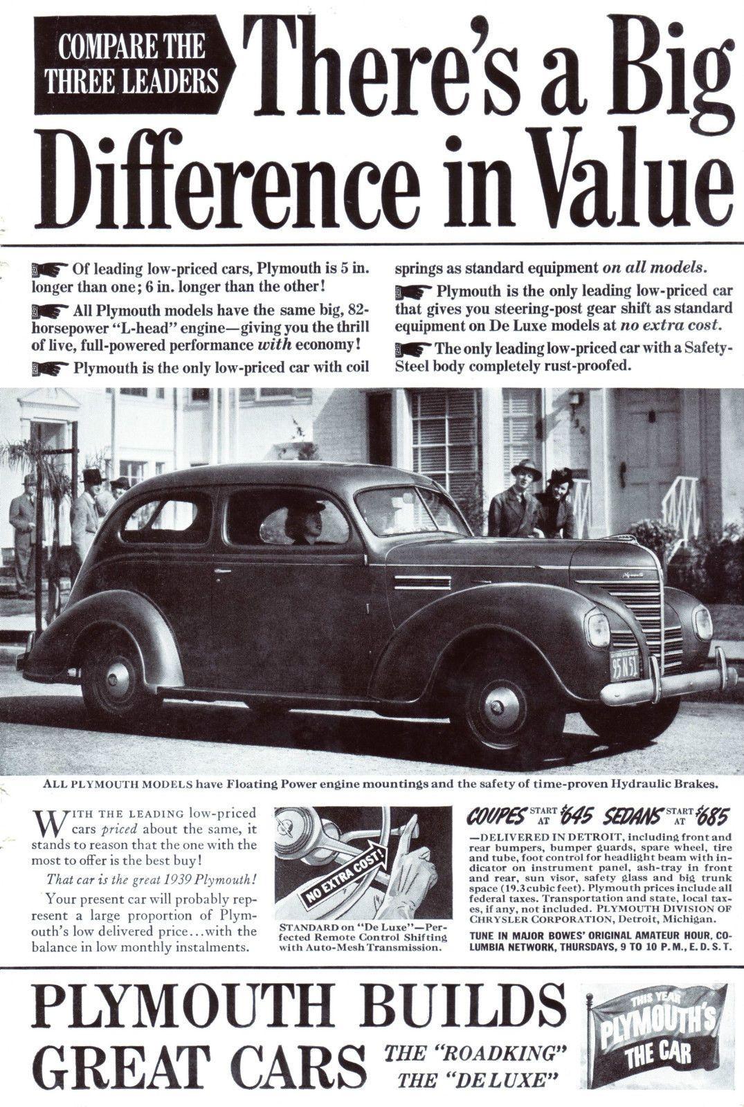 Original-Werbung/Anzeige (USA) 1939 - PLYMOUTH CARS | eBay ...