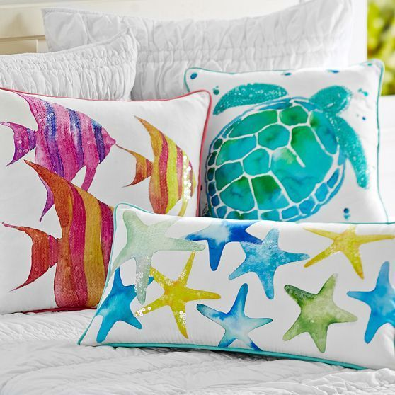 Sea Creature Watercolor Pillow Cover Summer Pillows