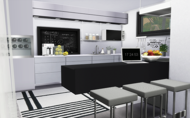villa sims 4 cuisine moderne blanche | Cuisine Sims 4 | Pinterest