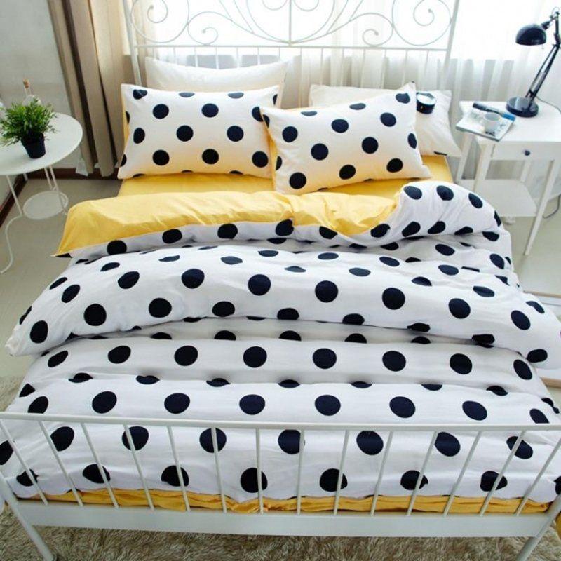 Modern Chic Black White And Bright Yellow Polka Dot Print Boutique