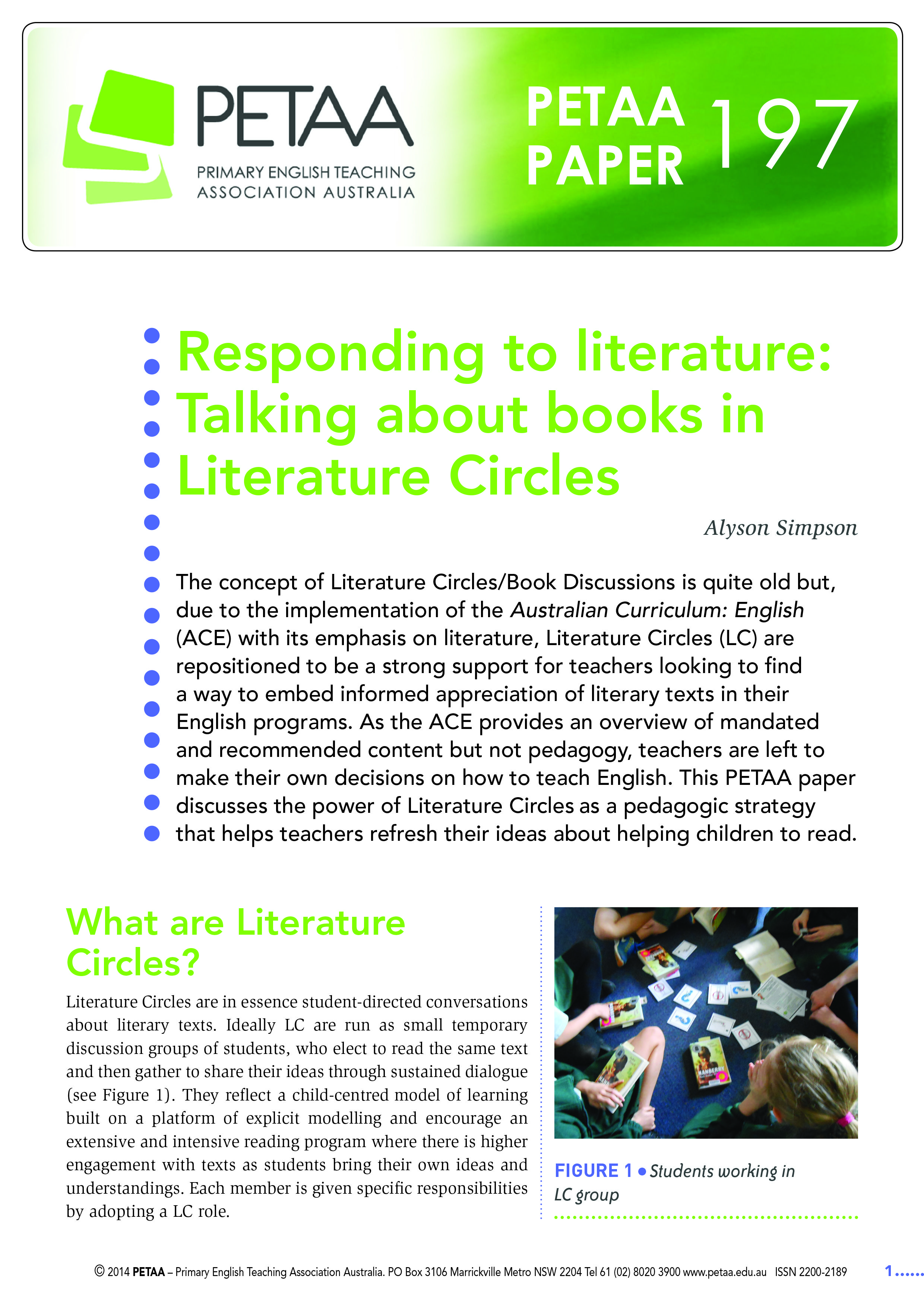 Petaa Paper 197 Responding To Literature Talking About Books In Literature Circles Alyson Si Literature Circles Primary English Teaching Teaching Resources [ 3507 x 2480 Pixel ]