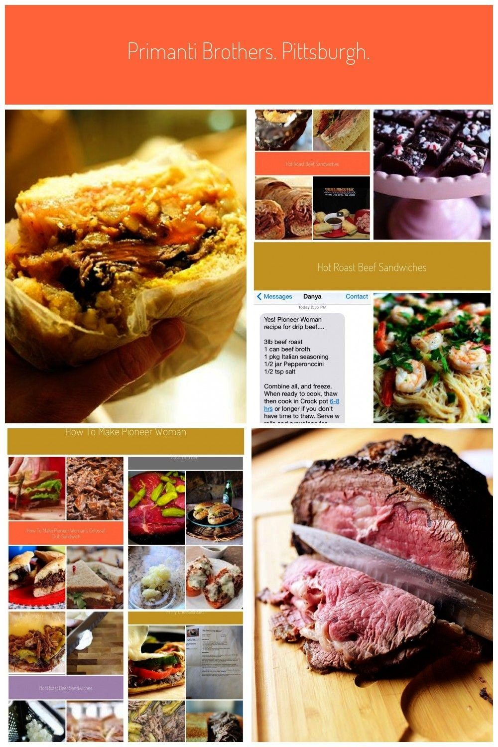 recipes, just 2 sandwich ideas (1)Tomatoes, cole slaw, french fries, roast beef, cheese, and a fr
