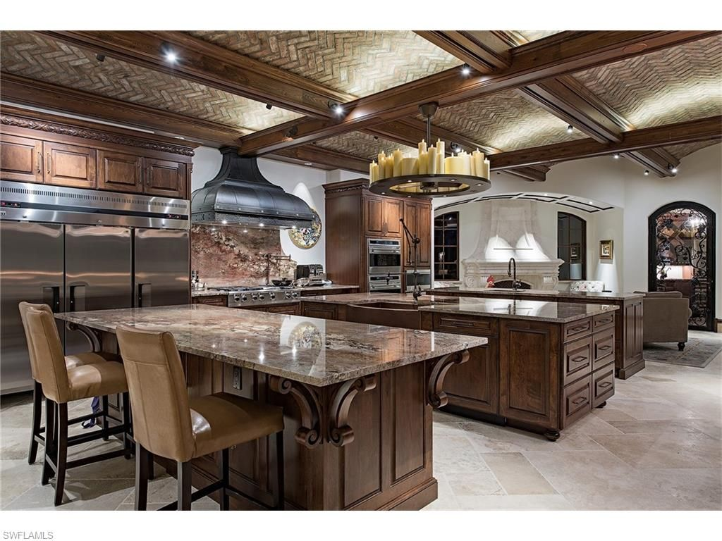 Nice Open Layout Luxury Craftsman Kitchen With Three Islands