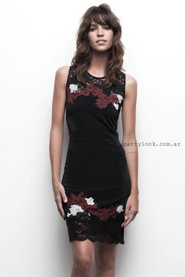 675126db1 Vestido negro con apliques de encaje awada invierno 2015 Vestidos Awada