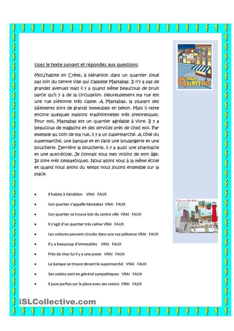 Compréhension De L Oral A2 Mon Quartier Aprender Frances Clases De Frances Idioma Frances
