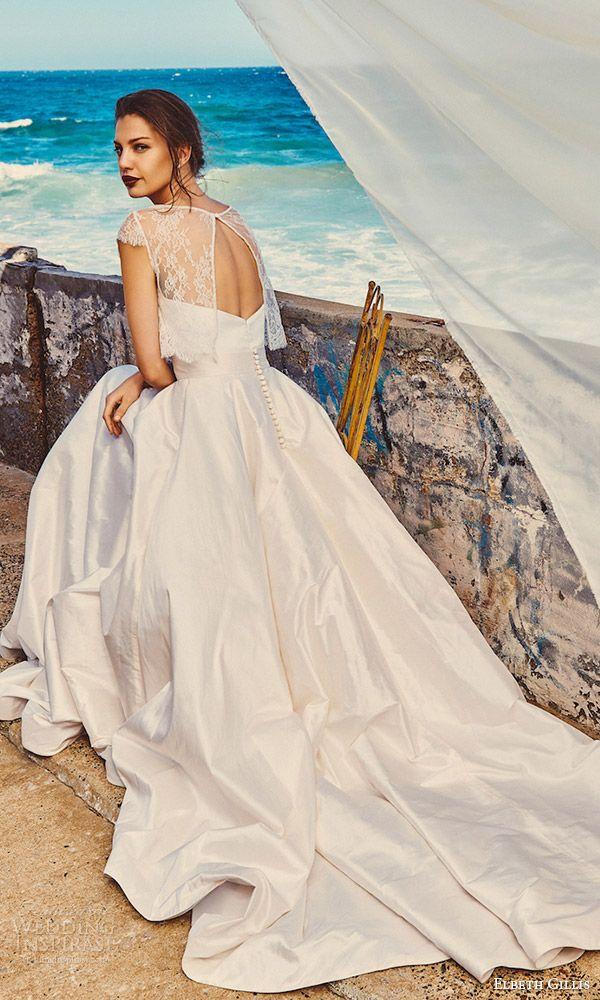 Elbeth Gillis Milk Honey 2017 Bridal Separates Cap Sleeve Aline Wedding Dress Michelle Lace Top Linda Top Scarlet Skirt Bv Train