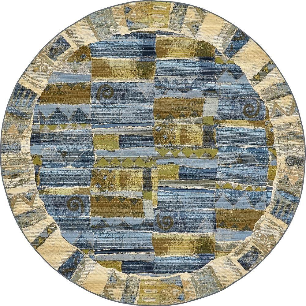 Eden Outdoor Blue 8 Ft X Round Area Rug
