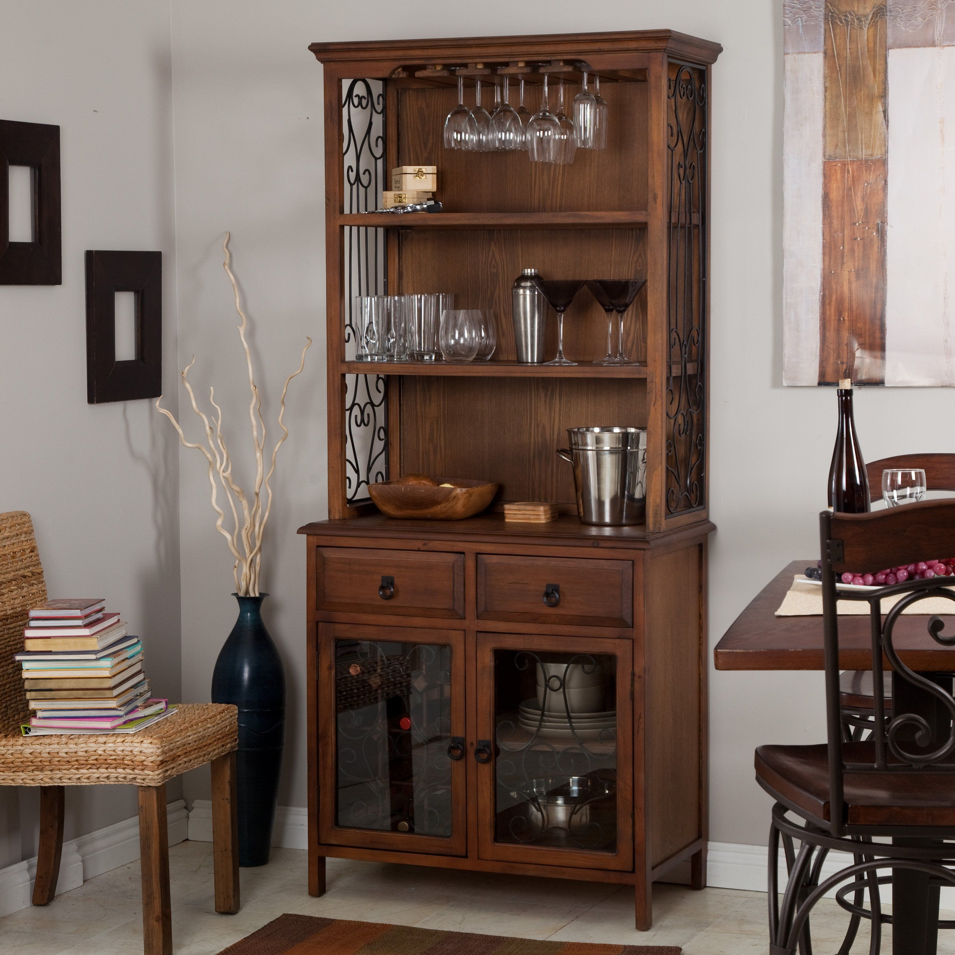 Belham Living Genova Bakers Rack With Wine Storage   Dark Oak   $329.98  @hayneedle.com