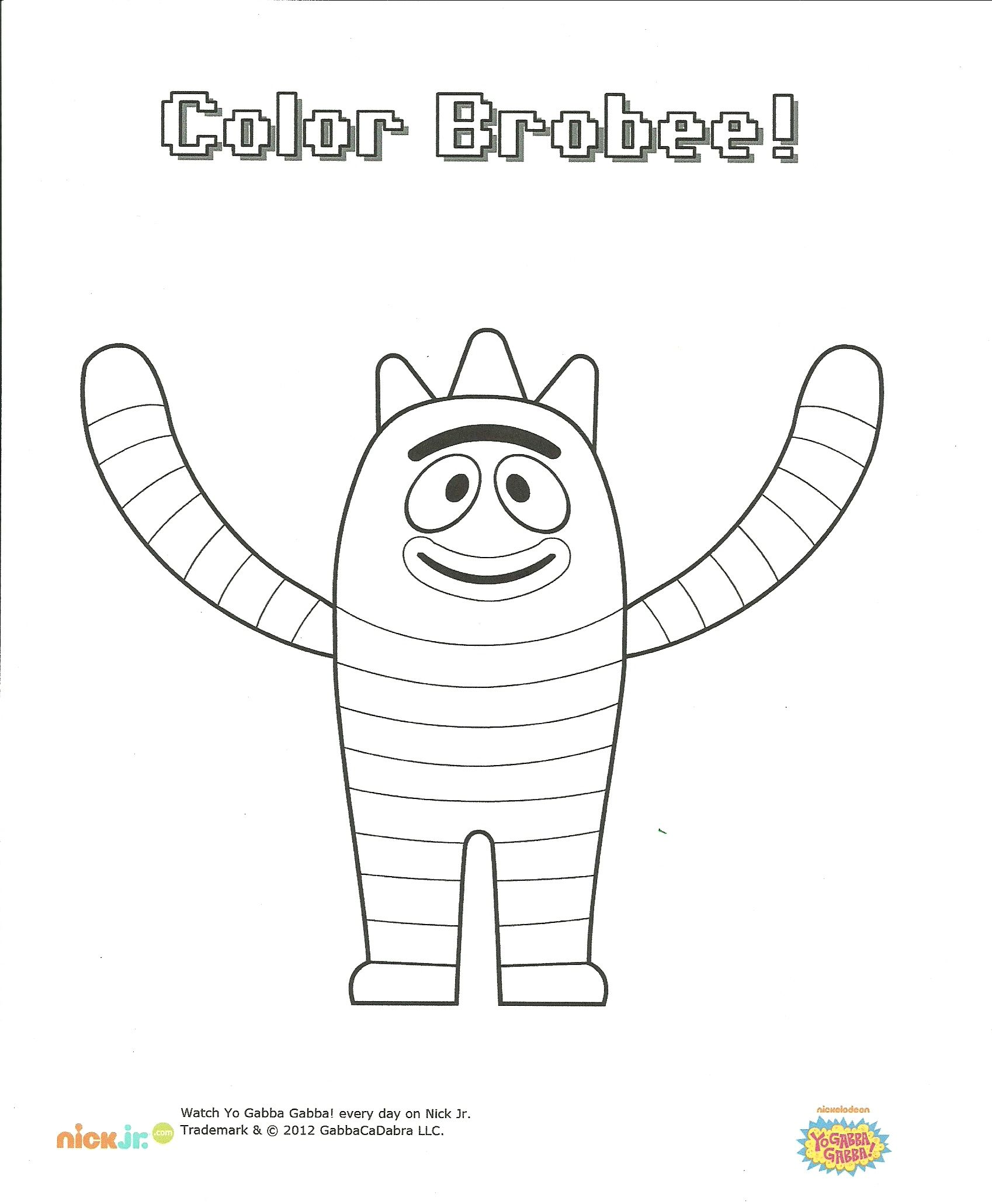 Brobee Coloring Page I Love To Color Yo Gabba