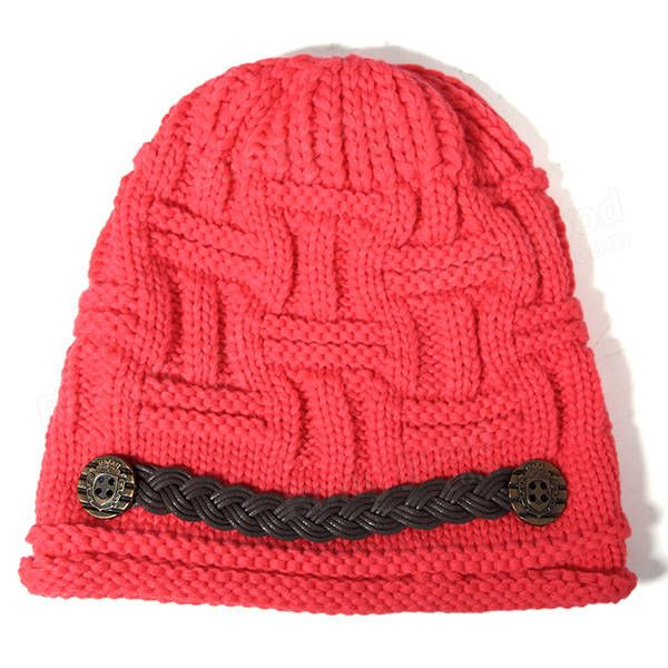 Women Girl Crochet Strap Knitting Caps Button Decorative Baggy Beanie Hat -  Banggood Mobile c7557bf46143