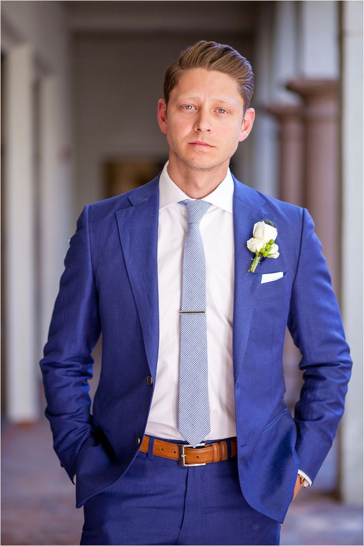 Groom\u0027s suit in a classic royal blue with saddle brown belt