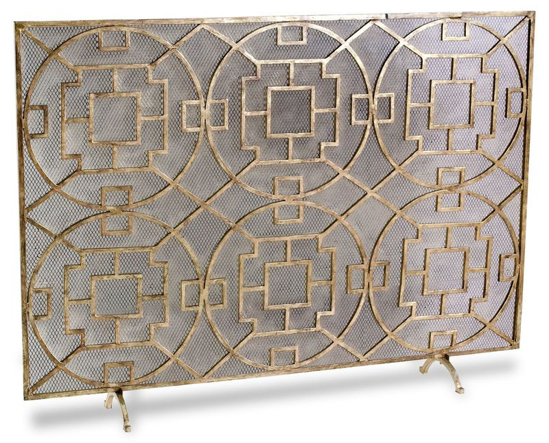 Pyra Modern Transitional Gold Leaf Medallion Fireplace Screen