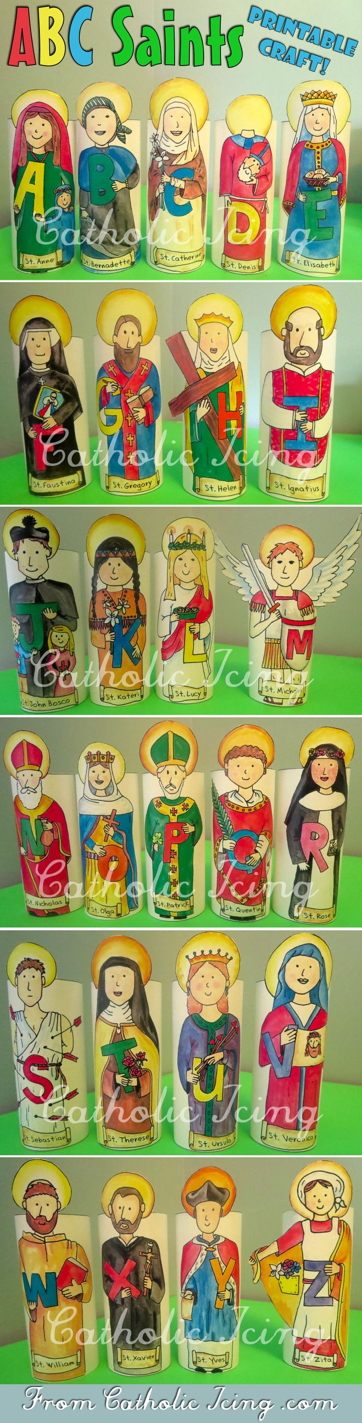 an alphabet of catholic saints stand up printable crafts craft