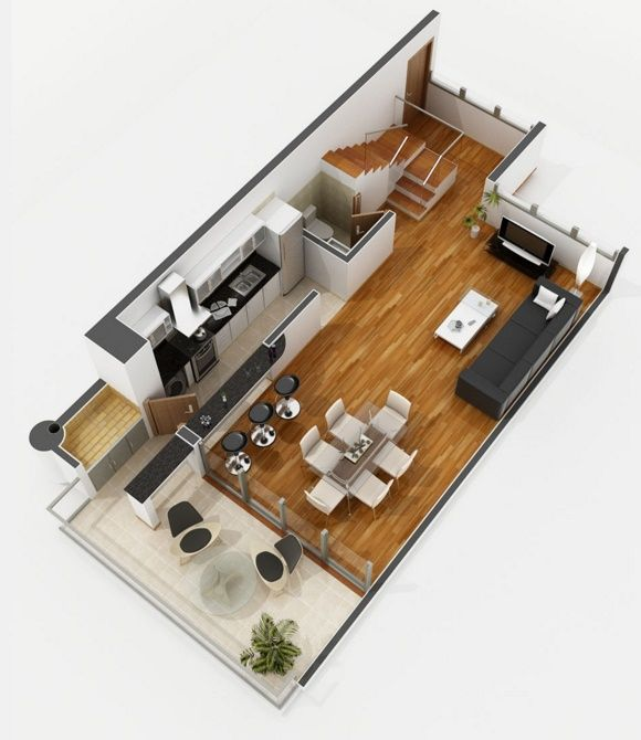 Planos de apartamentos de 2 dormitorios departamento for Disenos de unas modernos