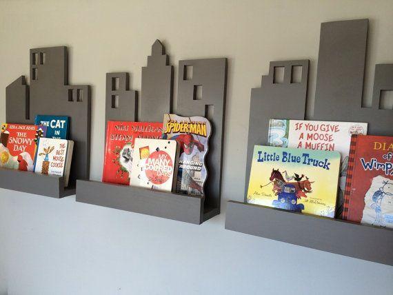 Toddler Boys Superhero Bedroom Ideas cityscape book shelf- set of 3, superhero decor, bookshelf | book